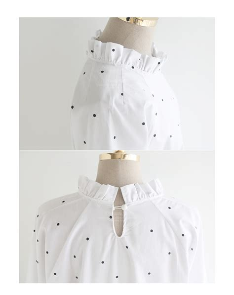 Dotted Frilled qnigirls frilled collar dotted shift dress yesstyle