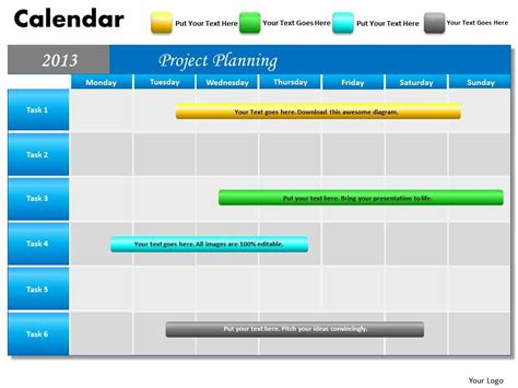 Project Planning Gantt Chart 2013 Calendar Powerpoint Slides Ppt Templates Powerpoint Calendar Template For Powerpoint