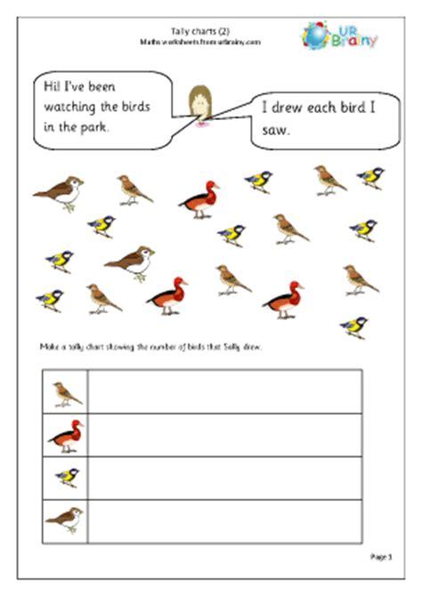 tally chart birds handling data maths worksheets for year