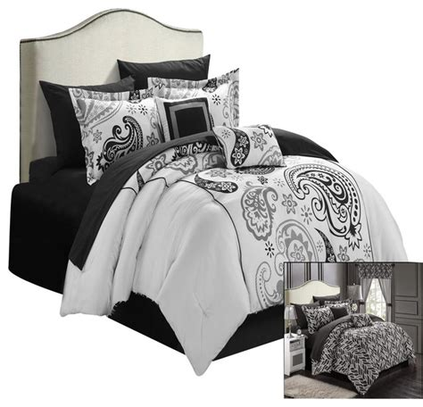 black and white paisley bedding chic home olivia paisley print black and white 20 piece