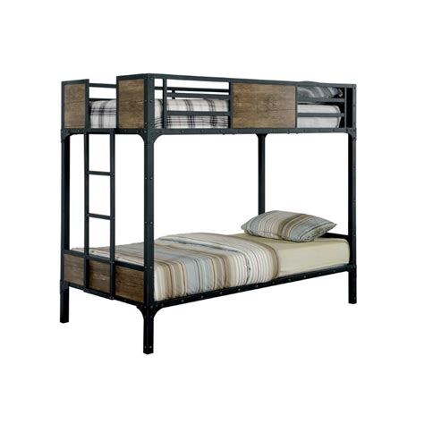 furniture of america bunk beds furniture of america baron twin over twin bunk bed in black idf bk029tt