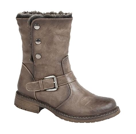womens brown leather biker boots ladies fold down leather look fur lined biker ankle boots