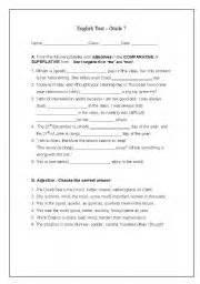 english worksheet english test grade 7