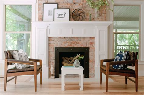 fireplace mantle eclectic living room winn design