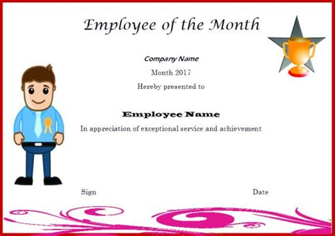 employee of month template and employee of the month certificate