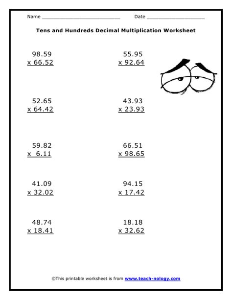 Math Decimal Multiplication Worksheets by Multiplication Worksheets With Decimals Kelpies