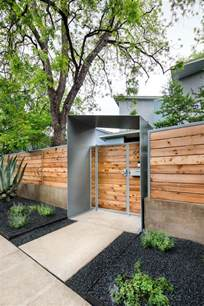 outstanding wood fence ideas with geometric entrance