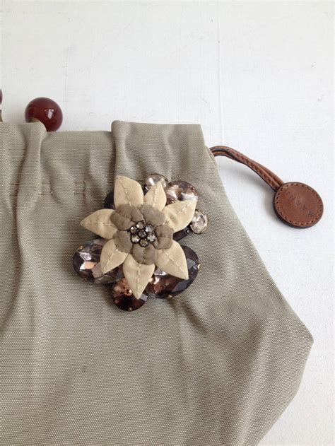Marni Swarovski Bijoux Purse by Marni Grey Kisslock Clutch With Floral Brooch At 1stdibs