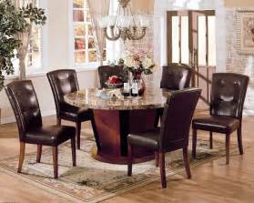Marble Dining Table Set Bologna Brown Marble Top Dining Table Set Pu Leather Chairs 7pc