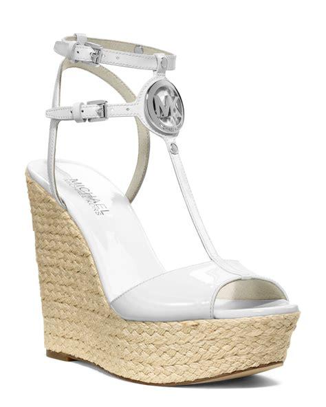 white wedge sandal michael kors keely logo wedge sandal in white lyst