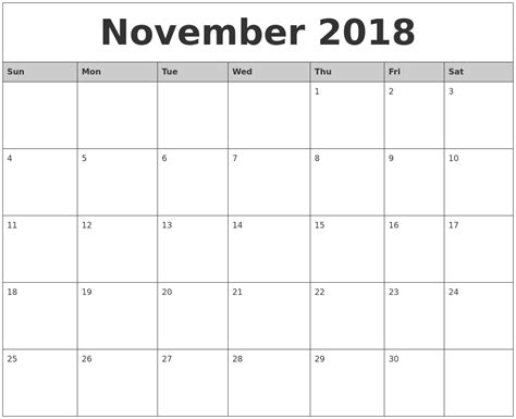 November 2018 Printable Calendar Monthly Calendar Template Printable Calendar Template 2018