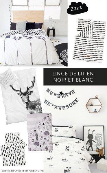 linge de lit noir du linge de lit graphique en noir et blanc pour petits