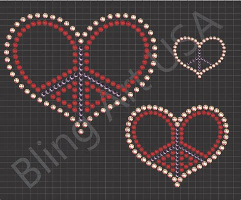 peace colours rhinestone files heart patterns bling peace sign stencil