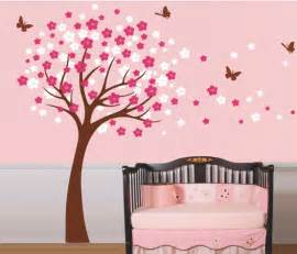 Tree Wall Stickers For Bedrooms Cherry Blossom Tree With Butterfly Wall Sticker Home Decorating