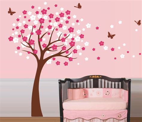 cherry blossom tree with butterfly wall sticker by