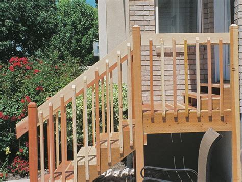 small and minimalist designed outside steps made with stained redwood decks