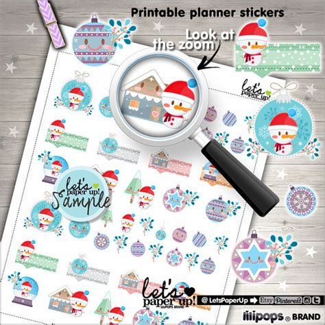 printable planner accessories christmas stickers printable planner stickers kawaii