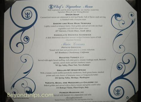 Signature Room Menu by Inspiring Of The Seas Dining Room Menu Gallery