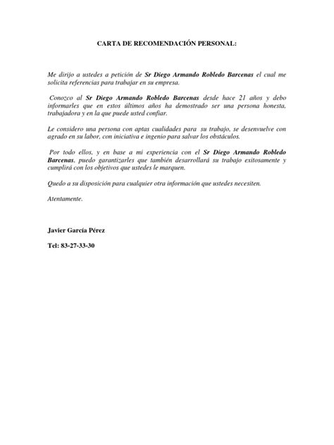 carta de recomendacion laboral destinatario carta de recomendaci 211 n personal
