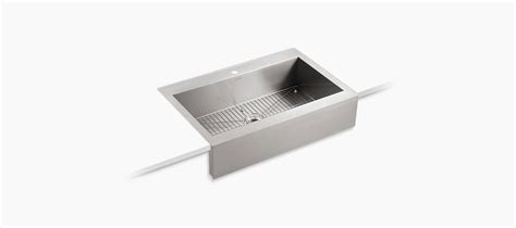 vault top mount single bowl stainless steel kitchen sink with k 3942 1 vault apron front top mount sink with single