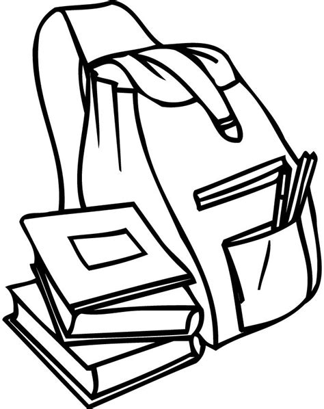 Coloring Page Of A Backpack And Books For Preschoolers Colouring Pages Book