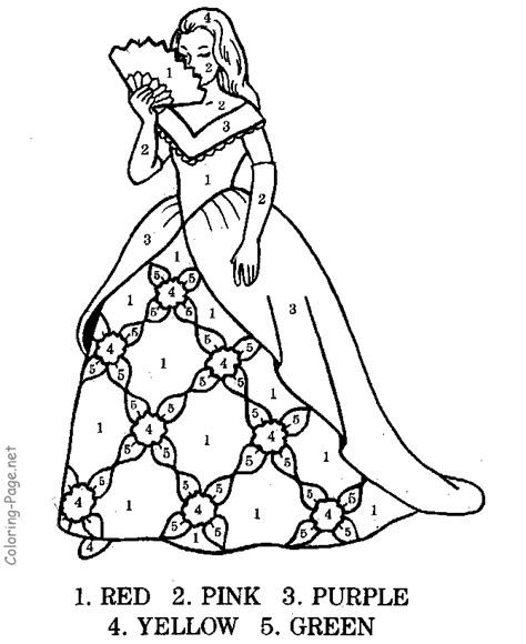 Child Activity Pages Color By Number The Princess Activity Coloring Pages