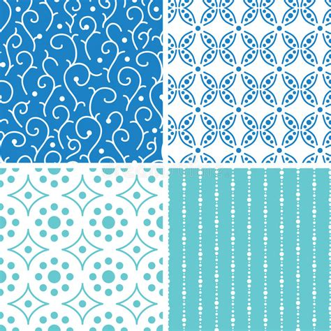 vector pattern matching four abstract doodle motives seamless patterns set stock