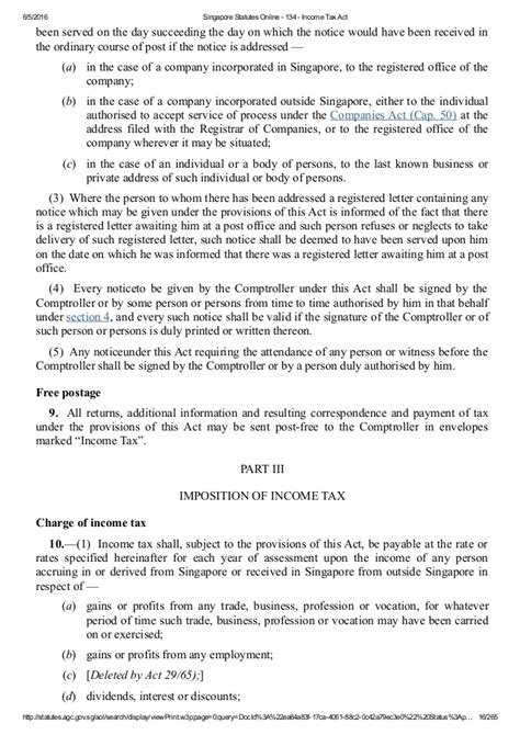 section 16 income tax act singapore income tax act chapter 134