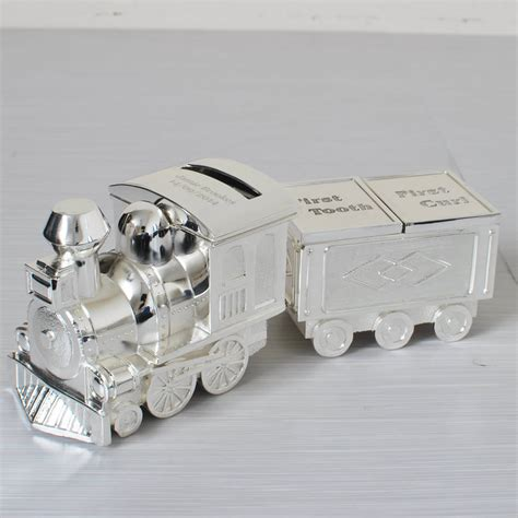 Personalised Vase Silver Plated Train Money Box Christening Gift