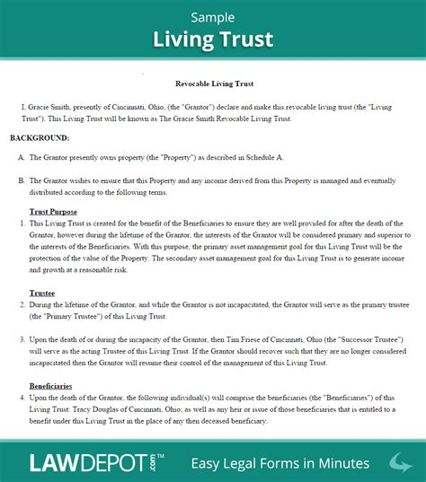 revocable living trust  living trust forms