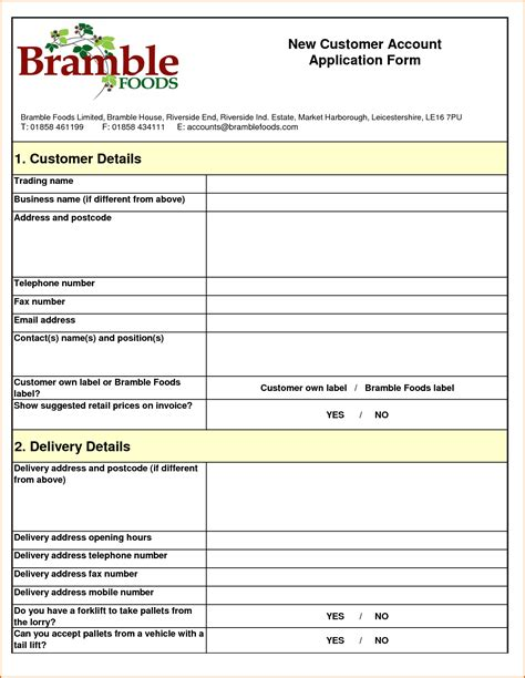 100 new customer account form template registration