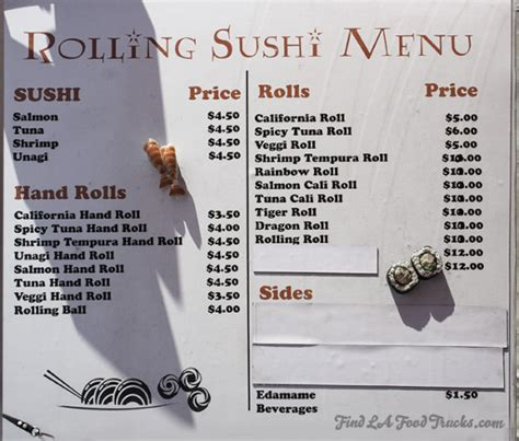 The Rolling Kitchen Food Truck Menu by Rolling Sushi La Food Truck Find La Food Trucks