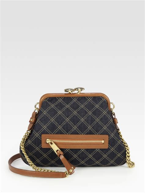 Marc Single Quilted Bag by Marc Single Quilted Denim Shoulder Bag In Gray