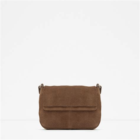 Zara Leather Bag zara mini suede messenger bag in brown leather lyst
