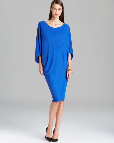 eliza j drape sleeve sash belt dress dkny dolman sleeve drape dress in blue sapphire lyst