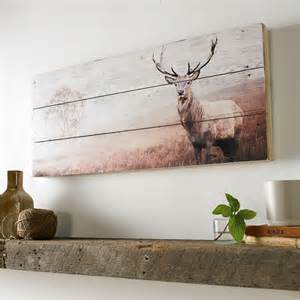 wooden stag wall decoration graham brown stag print on wood wall width 70cm x
