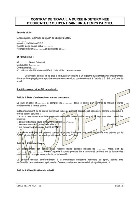 model 233 de contrat de travail a duree indeterminee d