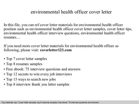 Environmental Officer Cover Letter by Environmental Health Officer Cover Letter