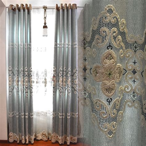 beautiful curtains blue damask embroidery poly cotton blend insulated