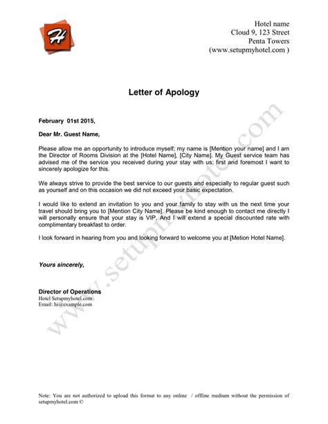 Apology Letter To Customer Hotel Hotel Apology Letter In Word And Pdf Formats