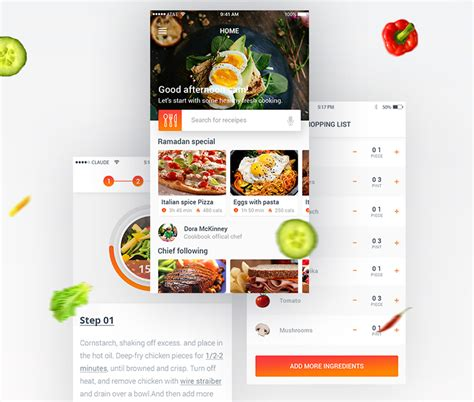 food template psd food recipe mobile app free psd psd