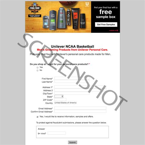 email format unilever free unilever men s grooming products sle box from