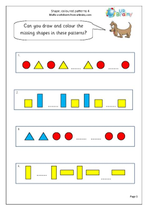 pattern worksheets year 1 shape colour patterns 4