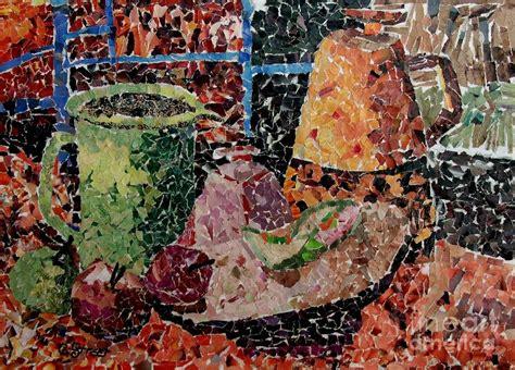 Metal Jug Vase Still Life With Green Jug Collage Mixed Media By Caroline