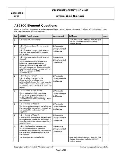 Internal Audit Checklist - AS9100   Iso 9000