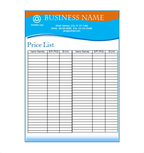 business price list template price list template 19 free word excel pdf psd