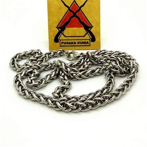 kalung titanium silver anti karat rantai anyam 70 cm kalung rantai persegi titanium pusaka dunia