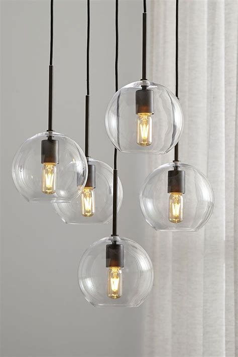 clear spheres dangle  contemporary chandelier  dining