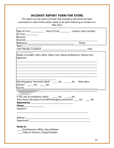 factory product damage incident report template nike crisis management