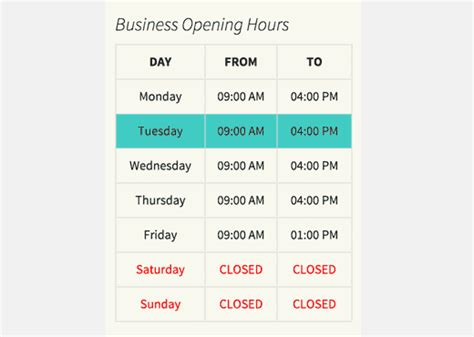 table hours beginner s guide on how to add business hours in